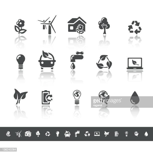 Ecology & Green Environment Icons   Simple Grey