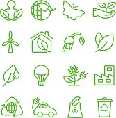 Ecology green line icon