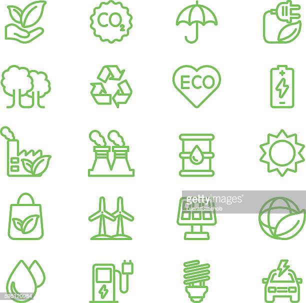 Ecology Green Line icons | EPS10
