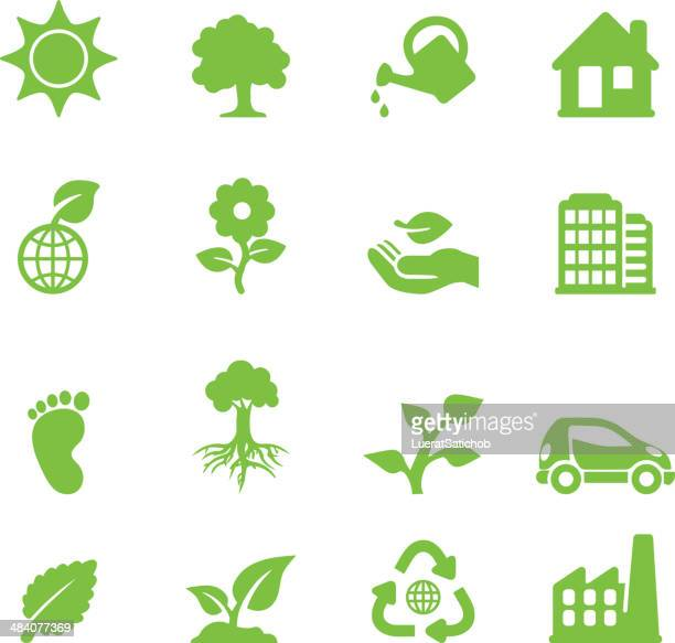 ecology green silhouette icons - watering can stock illustrations