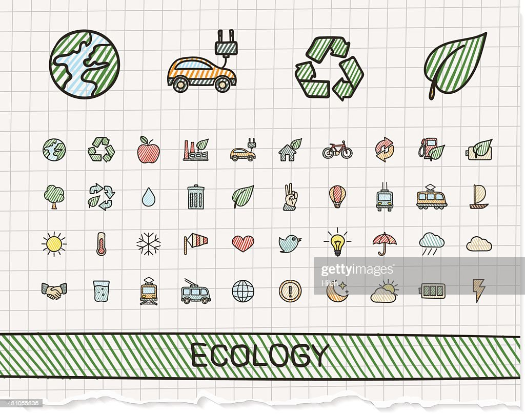 Ecology hand drawing line icons. Vector doodle pictogram set