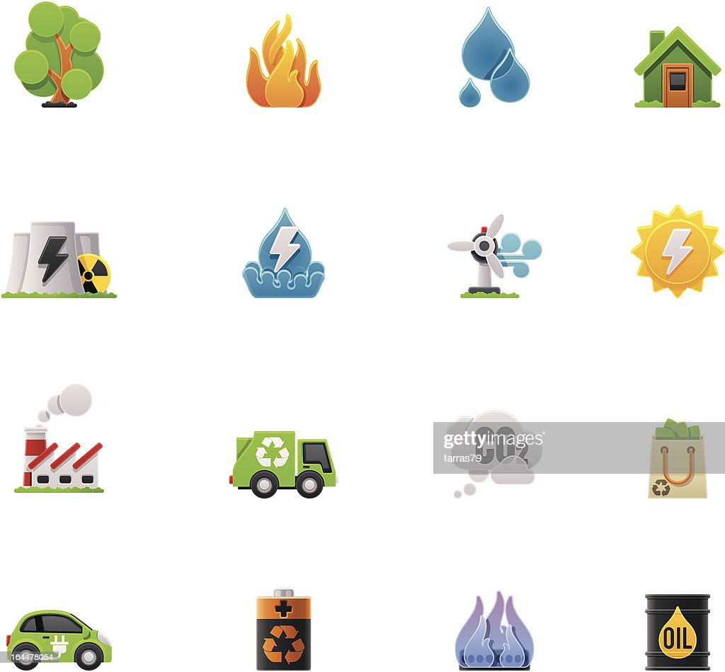 Ecology icon set on a white background