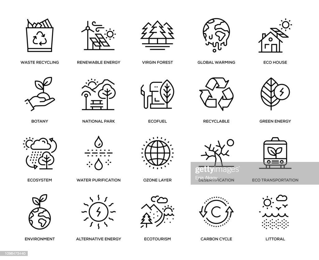 Ekologi Ikonuppsättning : Illustrationer