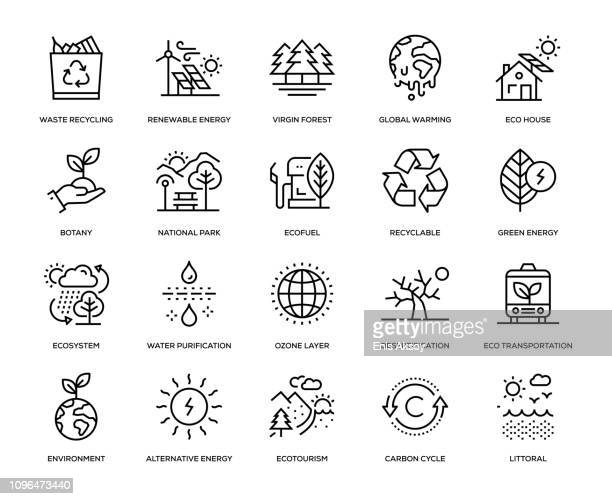 ökologie-icon-set - horizontal stock-grafiken, -clipart, -cartoons und -symbole