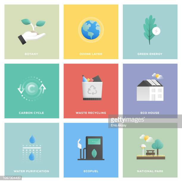 illustrations, cliparts, dessins animés et icônes de écologie icon set - environnement