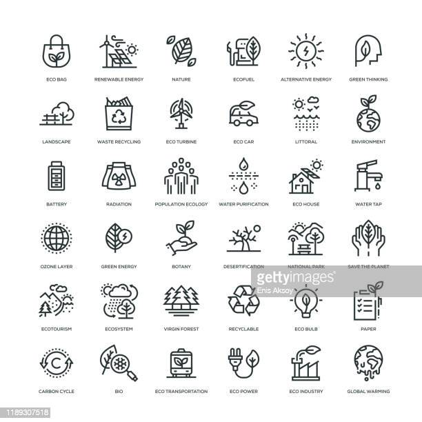 ecology icon set - light natural phenomenon stock illustrations