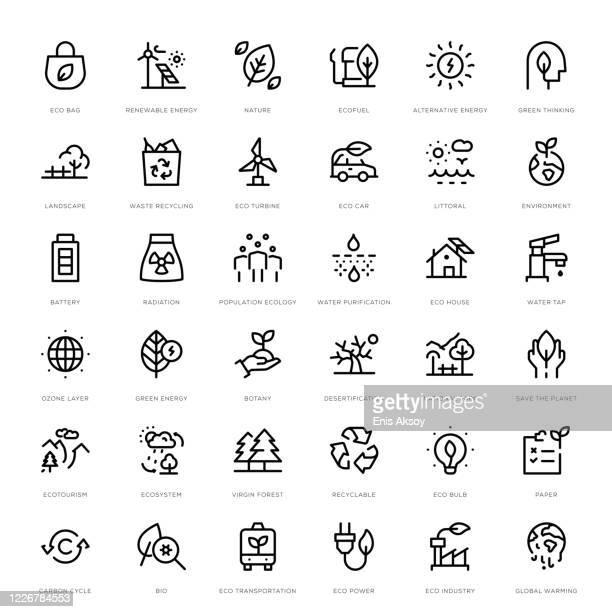 illustrations, cliparts, dessins animés et icônes de ensemble d'icônes d'écologie - responsabilité