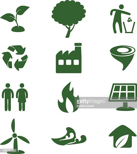 ecology icon set - water pollution stock illustrations, clip art, cartoons, & icons