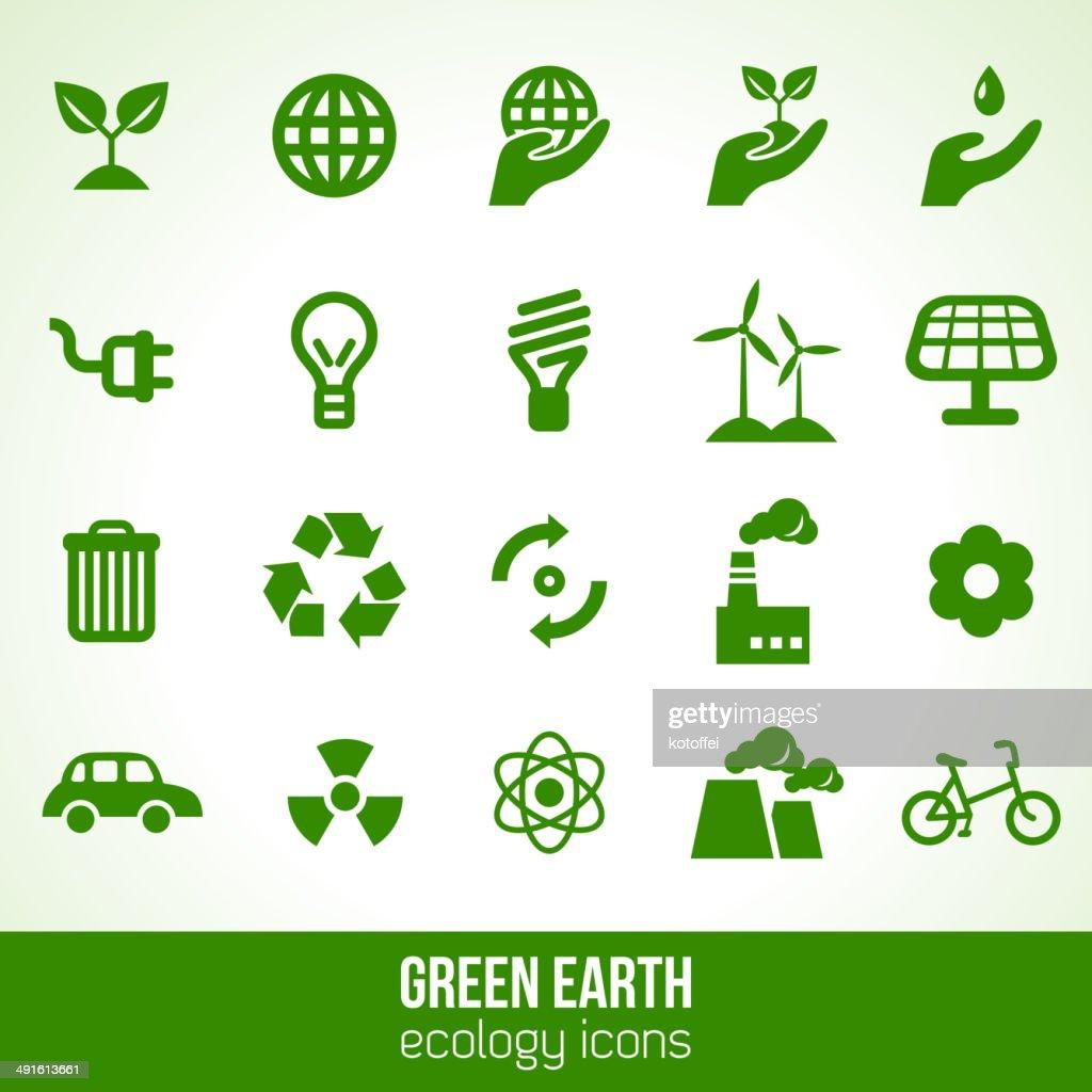 Ecology icons isolated on white.
