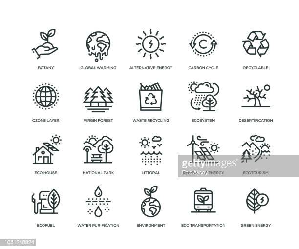 ecology icons - line series - natural parkland stock illustrations, clip art, cartoons, & icons