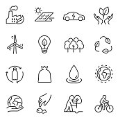 ecology icons set. linear design. Line with editable stroke
