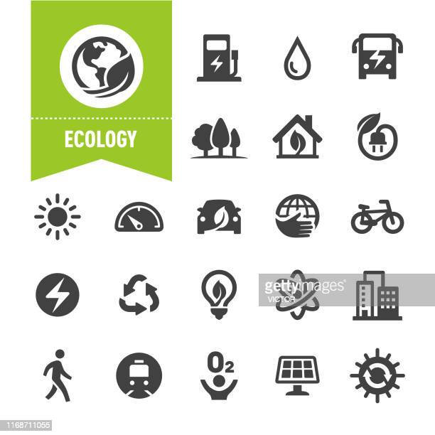 ecology icons - special series - alternative fuel vehicle stock illustrations
