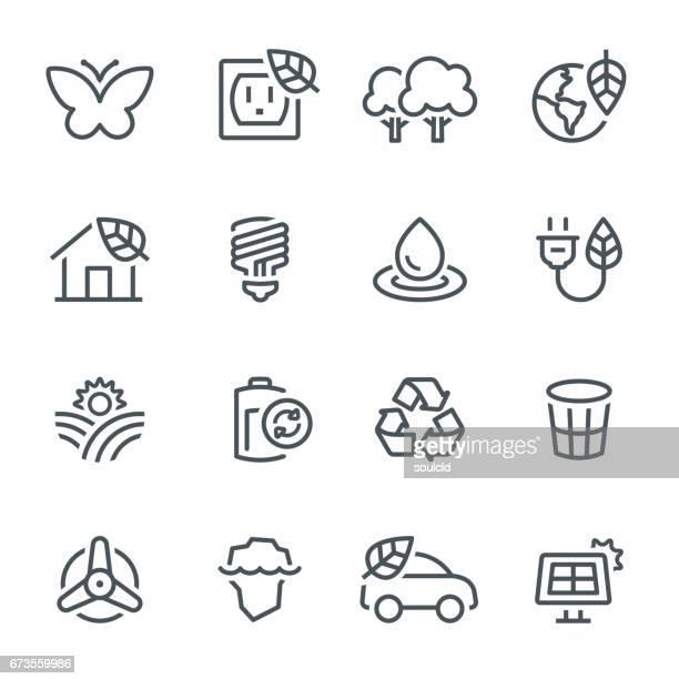 ilustraciones, imágenes clip art, dibujos animados e iconos de stock de ecología iconos  - ecosistema