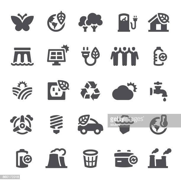 ecology icons - turbine stock illustrations, clip art, cartoons, & icons