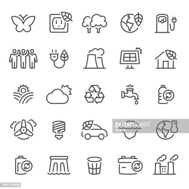 ecology icons - nuclear energy stock illustrations