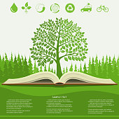 Ecology info graphics modern design, green tree and opened book