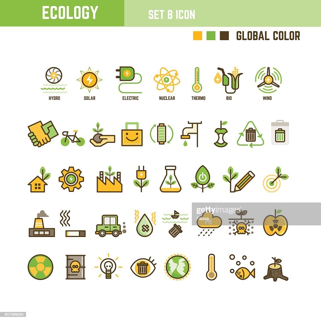 Ecology infographic element set of outline icon