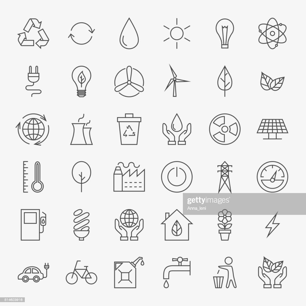 Ecology Line Art Design Icons Big Set
