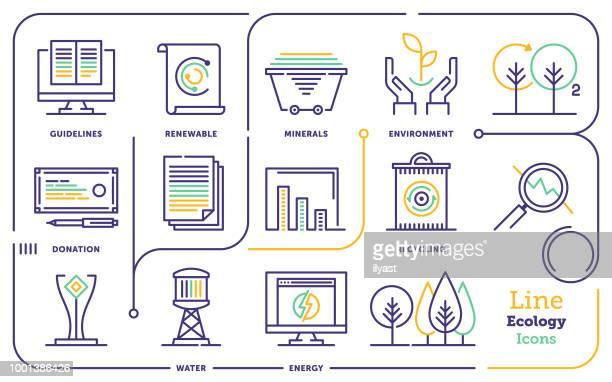 ilustraciones, imágenes clip art, dibujos animados e iconos de stock de conjunto de iconos de línea ecología - ecosistema