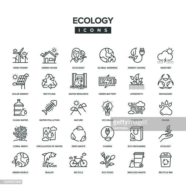 ecology line icon set - ecologist stock illustrations