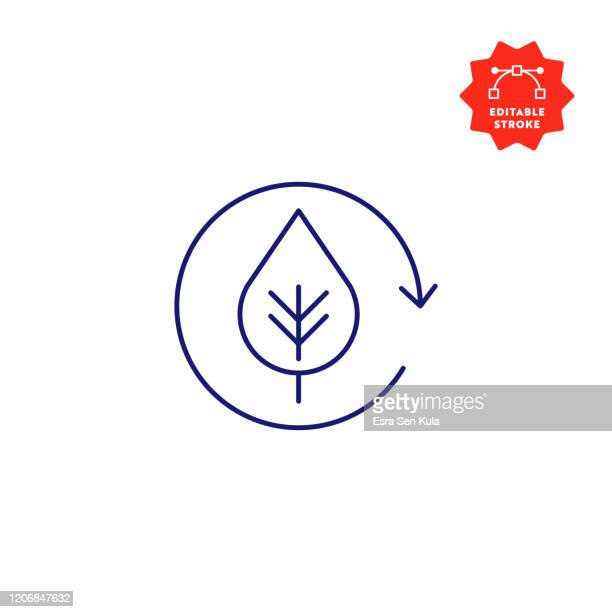 ecology line icon with editable stroke and pixel perfect. - leaf stock illustrations