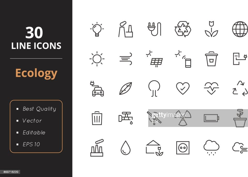 30 Ecology Line Icons