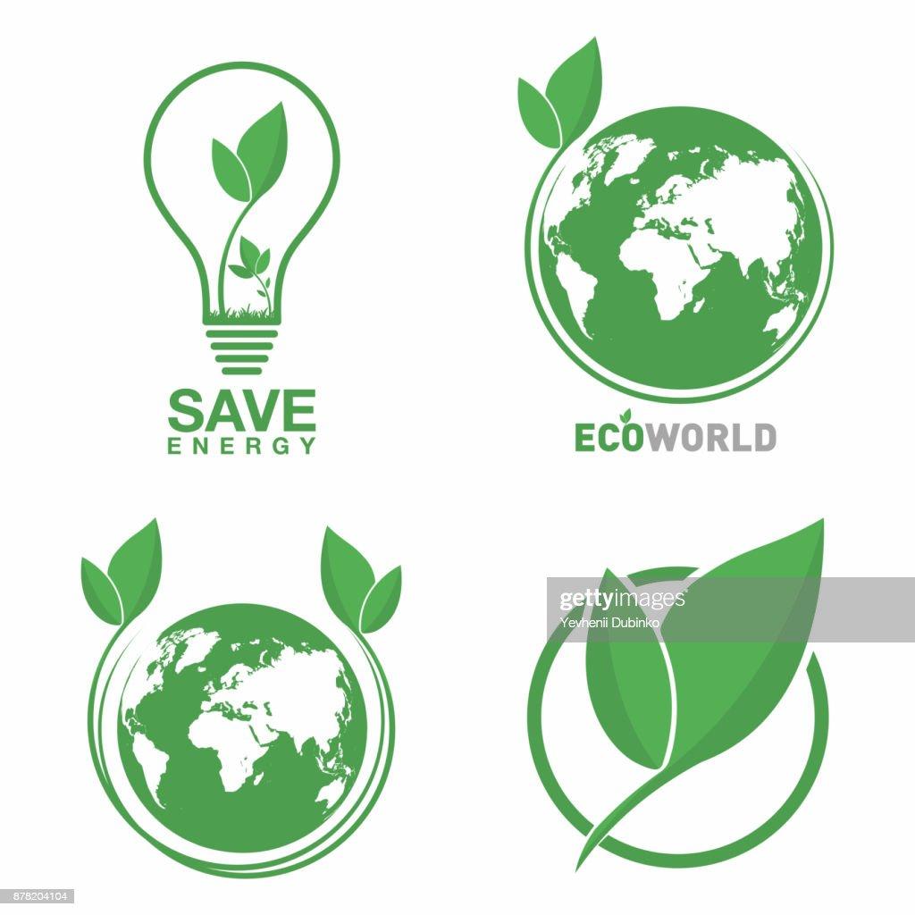 Ecology logo set. Eco world, green leaf, energy saving lamp symbol. Eco friendly concept for company logo