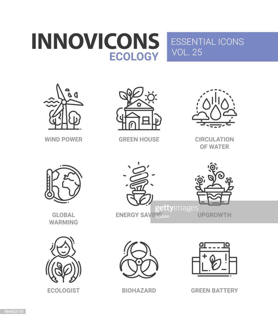 Ecology - modern color vector single line icon set