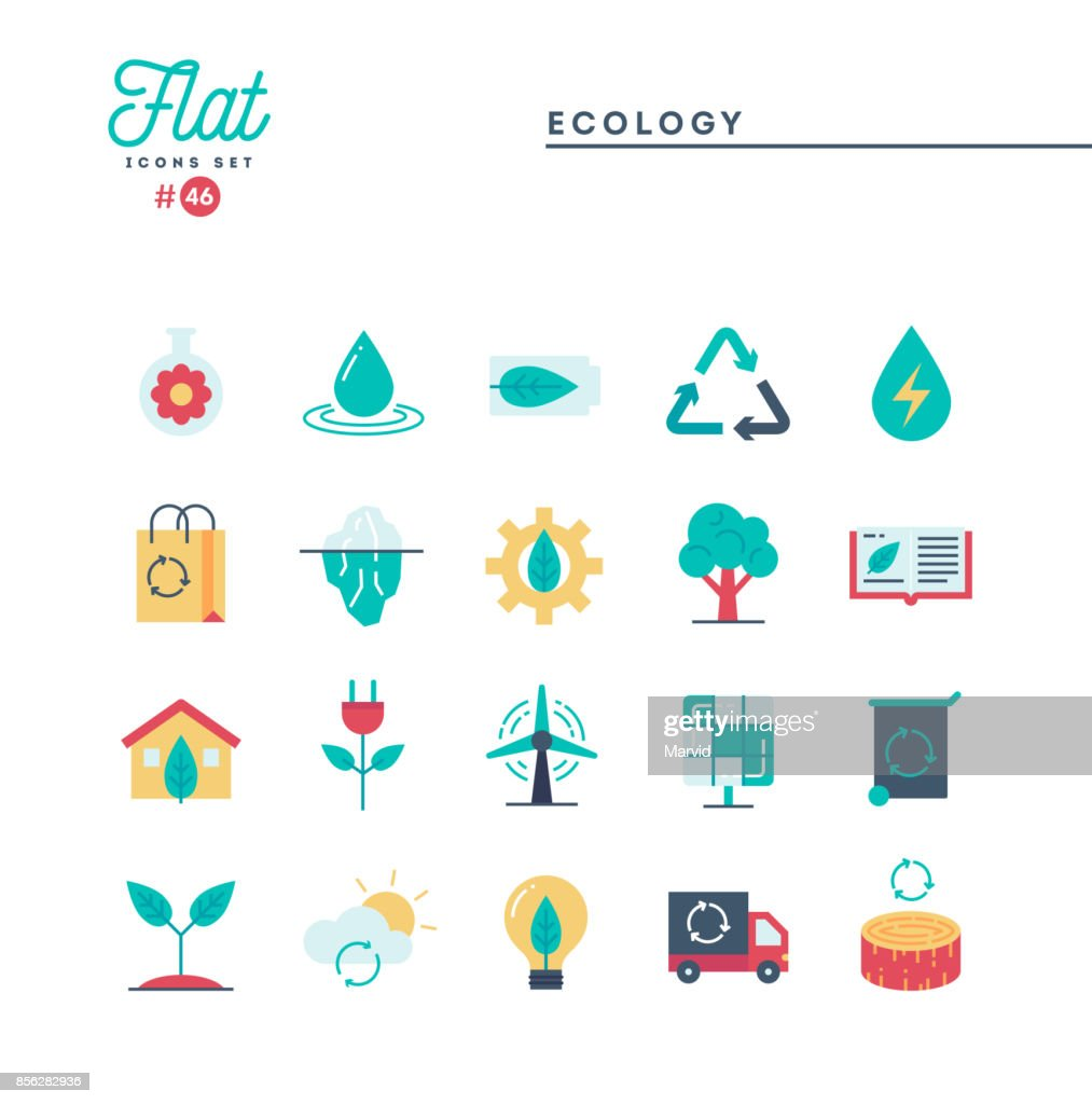 Ecology, nature, clean energy, recycling and more, flat icons set