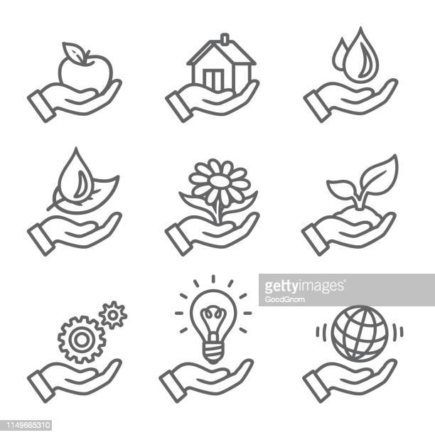 ikonen der ökologie outline - gewerbeimmobilie stock-grafiken, -clipart, -cartoons und -symbole