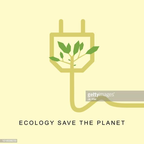 ilustrações, clipart, desenhos animados e ícones de plug de ecologia - produto local