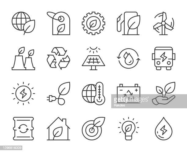 ecology & recycling - light line icons - power in nature stock illustrations