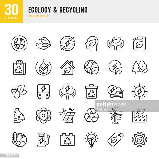 illustrazioni stock, clip art, cartoni animati e icone di tendenza di ecology & recycling - set of line vector icons. pixel perfect. set contains such icons as climate change, alternative energy, recycling, green technology - inquinamento ambientale