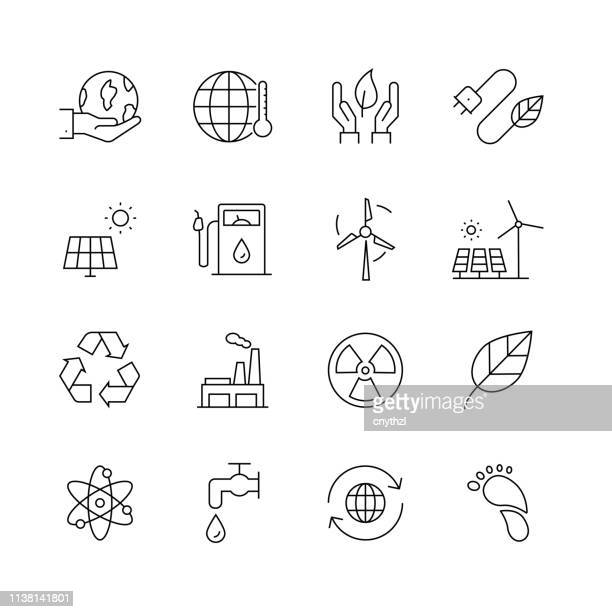 ecology related - set of thin line vector icons - savings stock illustrations