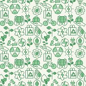 Ecology seamless pattern with thin line icons for environmental, recycling, renewable energy, nature. Vector illustration for background.