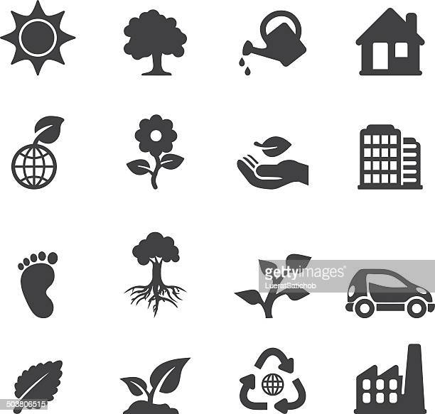 ecology silhouette icons | eps10 - watering can stock illustrations