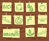 Ecology sketchy icons on wooden board set2