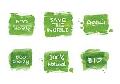 Ecology symbol, sign and icon set of green brush paint watercolor