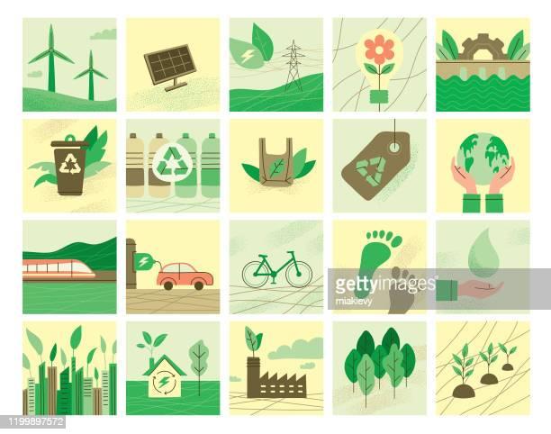 bildbanksillustrationer, clip art samt tecknat material och ikoner med ekologi symboler samling - elbil