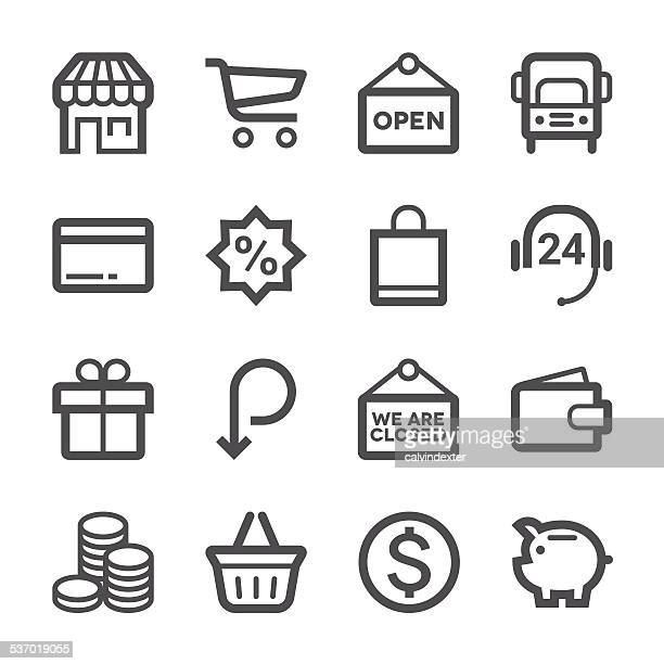 e-commerce and shopping icons set 1 | stroke series - closed sign stock illustrations, clip art, cartoons, & icons