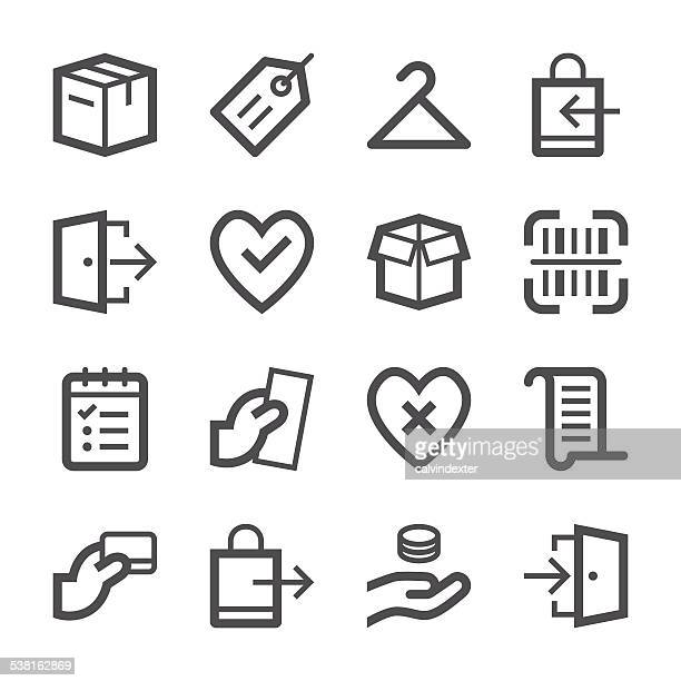 e-commerce and shopping icons set 2 | stroke series - leaving stock illustrations