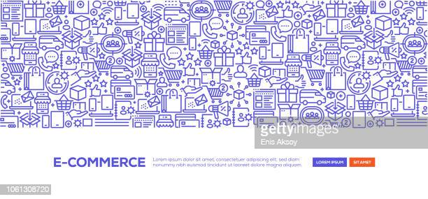 e-commerce banner - e commerce stock illustrations