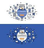 E-commerce. Flat line color hero images design concept