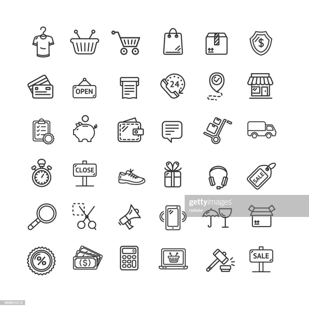 Ecommerce Icon Black Thin Line Set. Vector