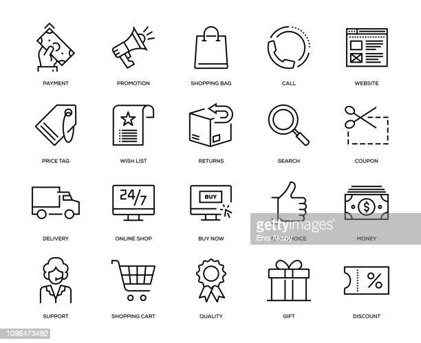 e-commerce icon set - shopping cart stock illustrations