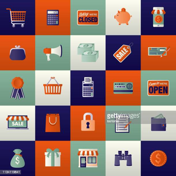 e-commerce icon set - closed sign stock illustrations, clip art, cartoons, & icons