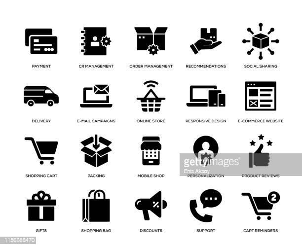 e-commerce icon set - customised stock illustrations