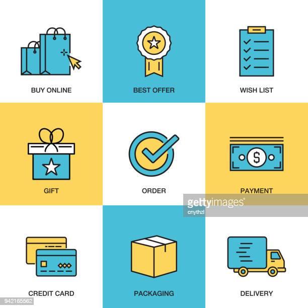 illustrations, cliparts, dessins animés et icônes de commerce électronique icon set - vendre