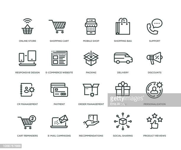 e-commerce icons - line series - shopping cart stock illustrations