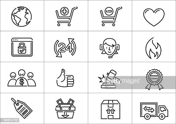 e-commerce icons | linea series - bid stock illustrations